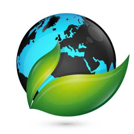 Planet earth and green leaves eco symbol Stockfoto - 122570813