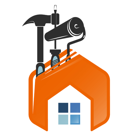 Repair and service home symbol with tool Illustration
