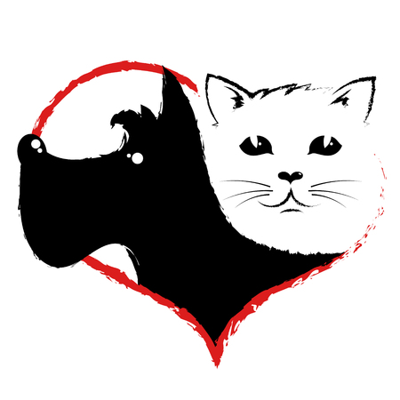 Dog and cat silhouette in pet heart