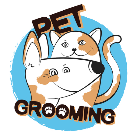 Cat and dog grooming and care Illustration