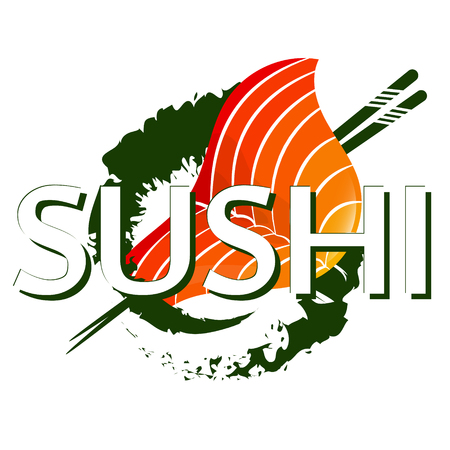 Sushi rolls and chopsticks design for business