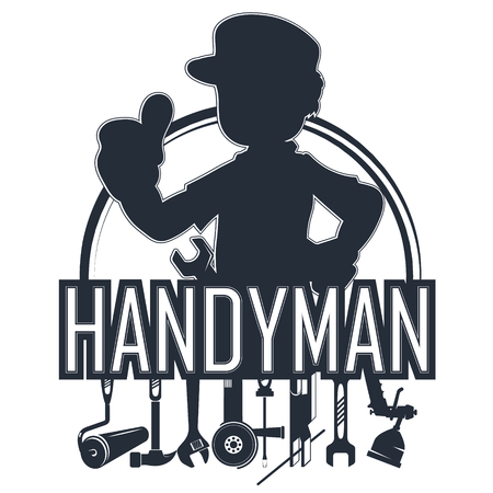 Handyman with a tool silhouette Illustration