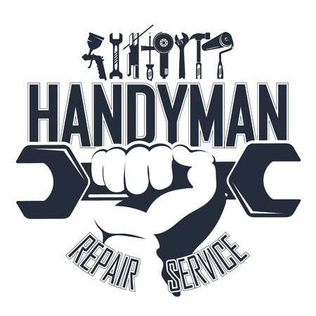 Handyman with a tool symbol
