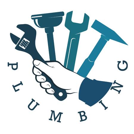 Repair plumbing and pipeline tool in hand symbol