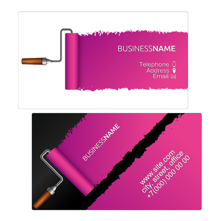 Business card for painter design. Roller for painting