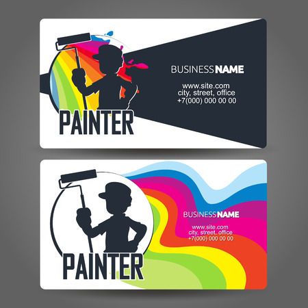 Painter with roller silhouette business card concept Illustration