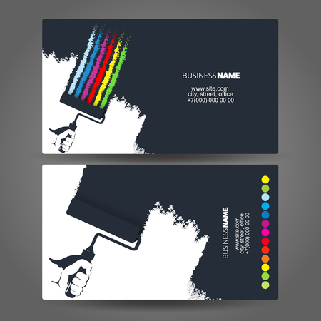 Roller in hand painter silhouette concept business card 向量圖像