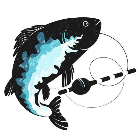 Silhouette zum Fischen mit Fischen