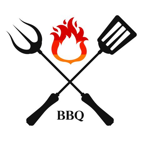 Fork and spatula with bbq design Vektorové ilustrace