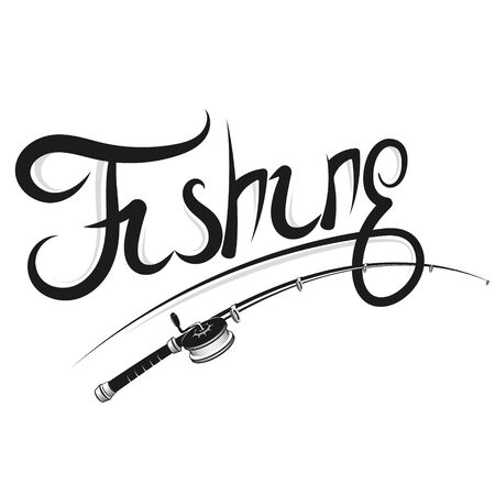 Fishing rod with a reel silhouette for sport fishing