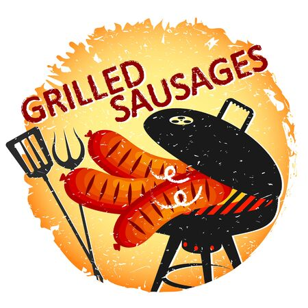 Fried sausages on the grill design for a party Ilustração