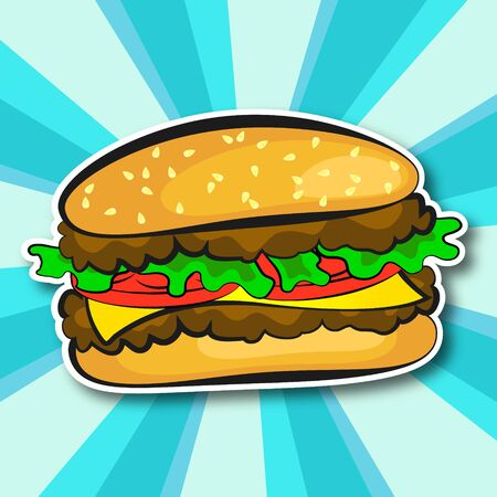 Juicy burger with cutlet salad and cheese illustration