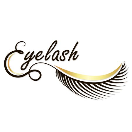 Eyebrows and eyelashes beauty salon gold symbol