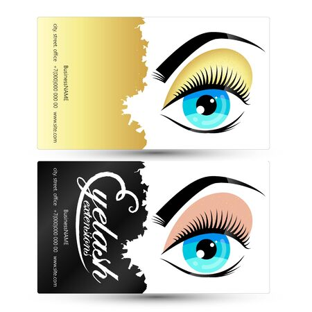 Eyelashes and eyebrows beauty salon business card  イラスト・ベクター素材