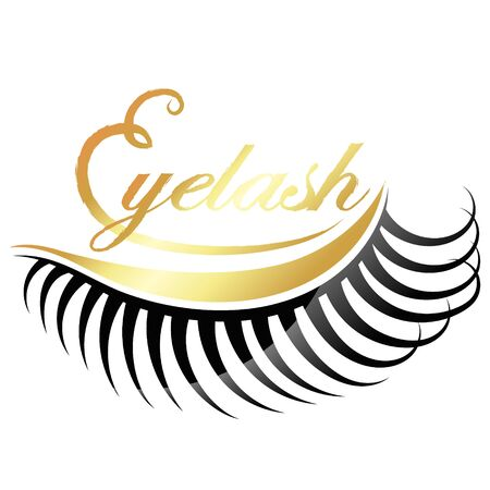 Eyelashes gold symbol for business  イラスト・ベクター素材