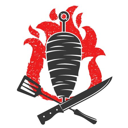 Kebab with knife and fork on the background of fire silhouette