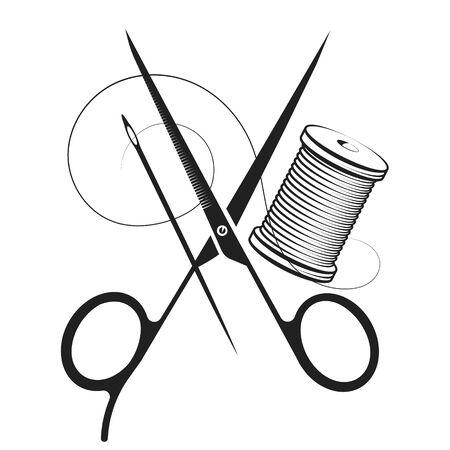 Symbole d'aiguille de fil de ciseaux pour la couture à la main