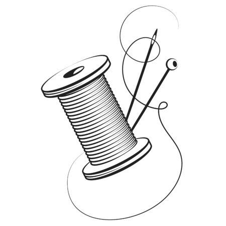 Carrete de hilo y aguja para símbolo de coser a mano Ilustración de vector