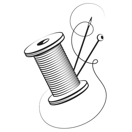 Spool of thread and needle for hand sewing symbol Векторная Иллюстрация