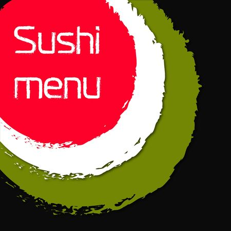 Sushi and rolls menu illustration for Japanese food Illustration