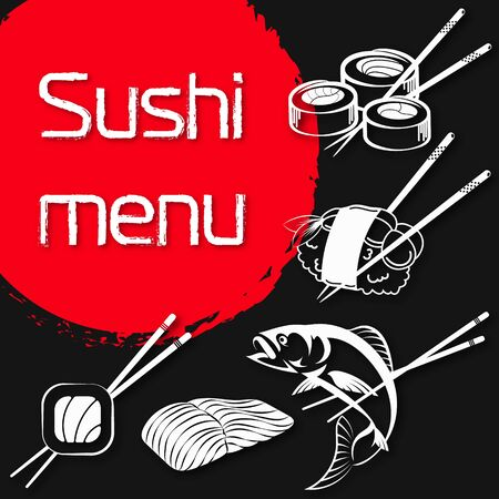 Sushi and rolls menu japanese food illustration Stock Vector - 129709617