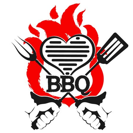 Grill heart and fork in hand 일러스트