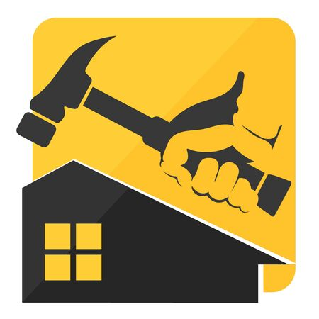 Hammer in hand and house symbol for repair and service