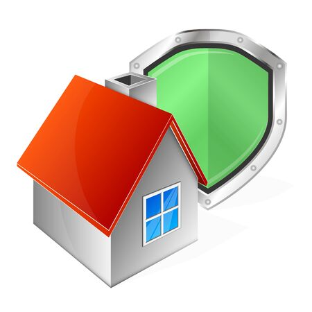 House and shield for protection alarm symbol Illustration