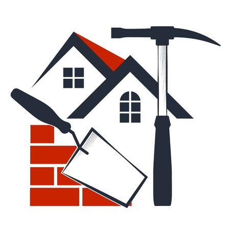 Brick with tool home construction symbol