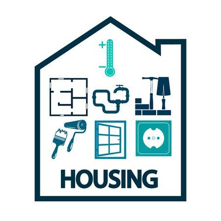 Housing repair service and construction symbol 일러스트