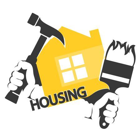 Housing repair symbol hammer and brush tool in hand