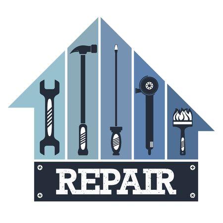 Housing repair and maintenance with tool symbol 일러스트
