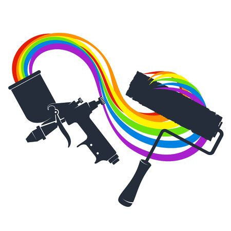 Paint roller and spray gun with colored paint symbol