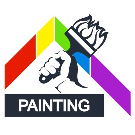 Brush in hand symbol for painting 일러스트