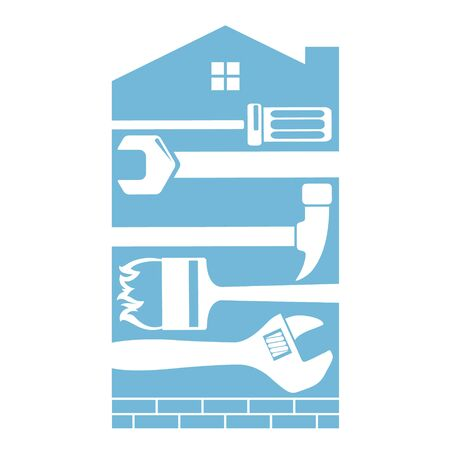 Home repair and construction with tool symbol 일러스트