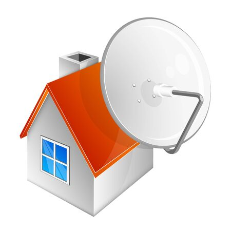 House and rooftop satellite dish