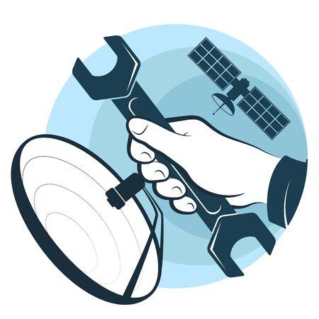 Installazione e riparazione di parabola satellitare e chiave inglese in mano Vettoriali
