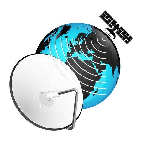 Satellite dish and globe signal tv