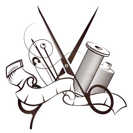 Scissors and needle cutting and sewing vector