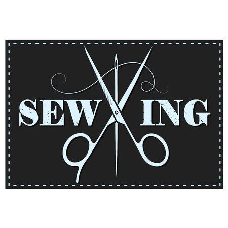 Sewing and cutting scissors needle thread symbol 일러스트