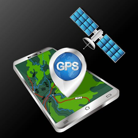 Smartphone navigation and satellite technology illustration