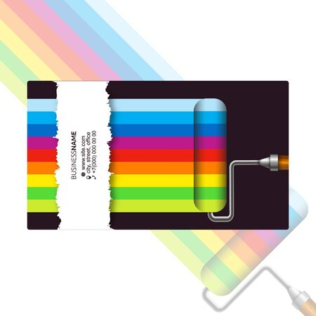 Roller with paint color pattern business card for painter Stockfoto - 129709325