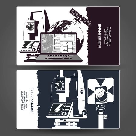 Surveying and cartography cadastral engineer business card