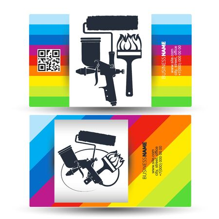 Business card template for a painter with painting tools 일러스트