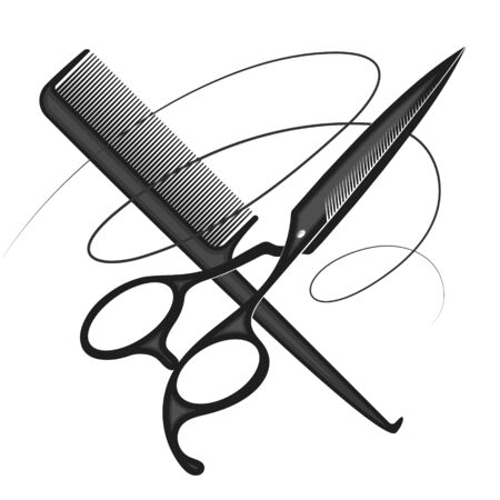 Scissors and comb curl hair symbol for a beauty salon