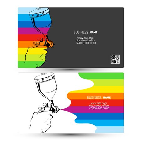 Spray gun in hand and color paint business card