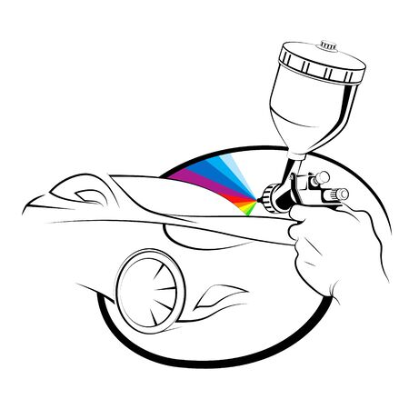 Painting a car with a spray gun in hand Çizim