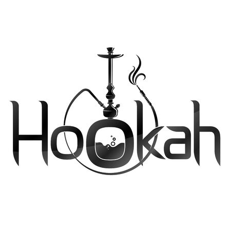 Hookah smoking silhouette simple and relaxation Vettoriali