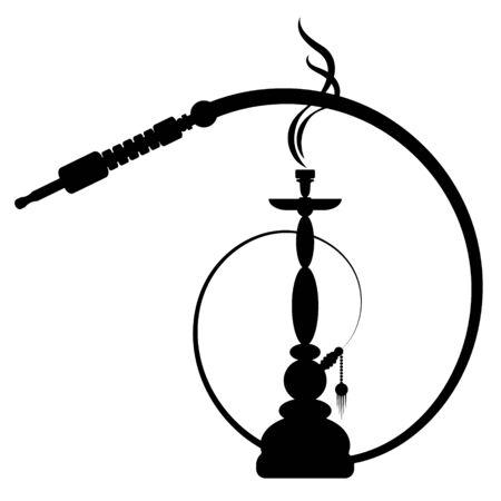 Narguilé avec vecteur silhouette unique de fumée Vecteurs