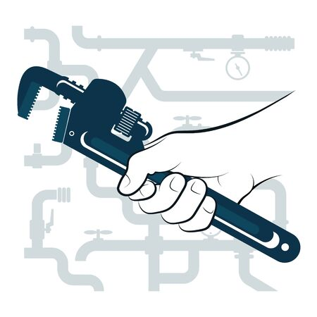 Wrench in hand for repair plumbing and water pipes Illustration